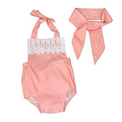 Wesracia Infant Baby Onesies Polka Dot Lace Romper Jumpsuit Playsuit Headband Clothes Outfits Set