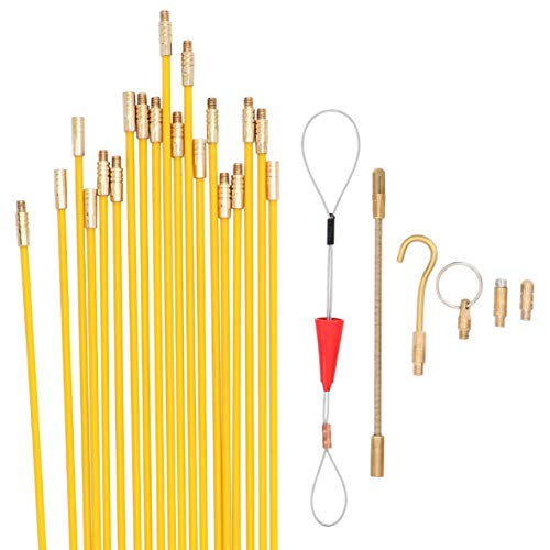 Jeemitery 24 Feet Fiberglass Fish Tape Cable Rods, Electrical Wire Running Pull/Push Kit   Fishing Feeder Pole Sticks…