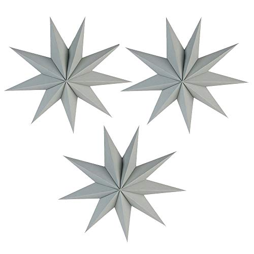 EOPER 3 Pieces 9 Pointed Paper Star Lanterns 12 Inch Hanging Lampshade for LED Light Wedding Birthday Party Decor, -