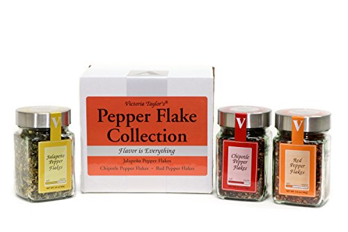Pepper Flake Collection - jalapeno, chipotle, and red pepper flakes.