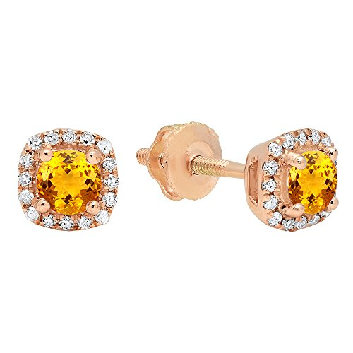 Dazzlingrock Collection 10K 3.5 MM Each Round Citrine & White Diamond Ladies Halo Style Stud Earrings, Rose Gold