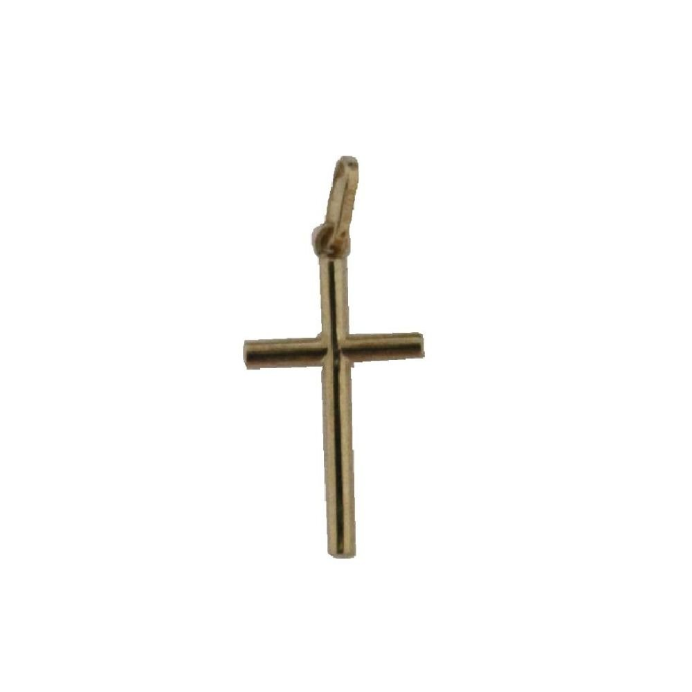 18K Yellow Gold Tube Cross pendant 14.4mm x 9 mm, 0.57 x 0.35 inch