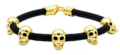 Silver Brown Stingray Leather - Double Bone Brown Stingray Bracelet with Yellow Gold Skulls Large 20 cm (8 in) DBMK00YBR