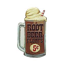 Open Road Brands 40171 Embossed Tin Sign, Root Beer Float Die Cut
