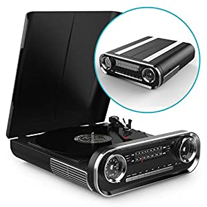 Record Player Vinyl Turntable with Speakers – USB MP3 Playback/ Bluetooth/ FM Radio/ Vinyl LP Records – RCA, Aux and Headphone Output (Black)