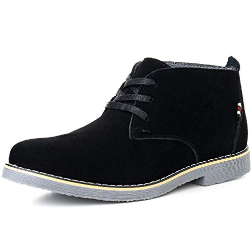 (alpine swiss Beck Mens Genuine Suede Chukka Boots Black 9 M US)