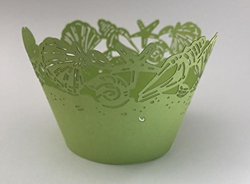 12 pcs Seashell Sea Lace Cupcake Wrappers Wrapper for Standard Size Cupcake Liners (Choose Color) Seashells Ocean Shells (Lime Green)