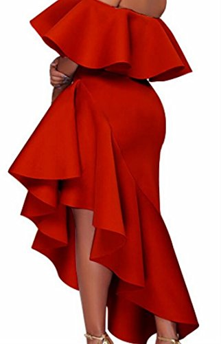 Femminile Rosso Abito Moda Volant Jaycargogo Spalla Cocktail Da Fuori Bordo Irregolare Hva4q4z