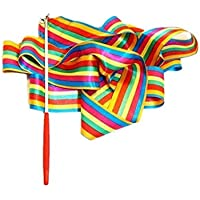 Dance Ribbons Streamers Rhythmic Gymnastic Ribbon Wands Rods for Children Art Dances, Baton Twirling