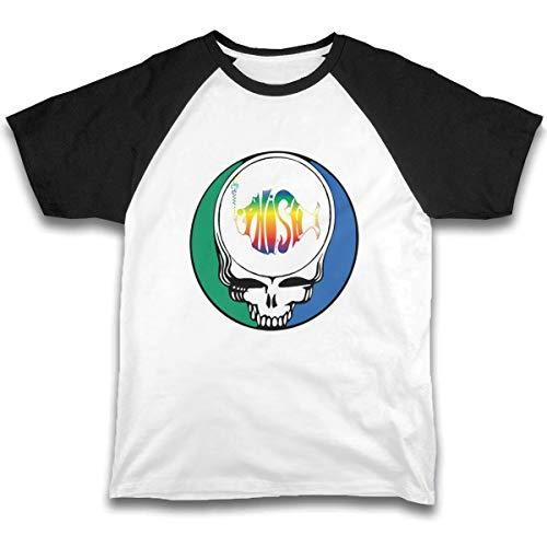 Phish Skull Boys Raglan Tee Girls Short Sleeve Jersey T Shirts Unisex Summer Baby Kid Tops Black