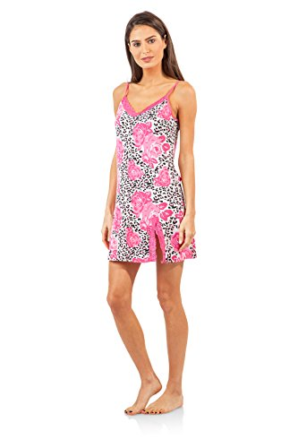 Casual Nights Women's Sleepwear Lace Trim Slip Camisole Nightie - Pink Rose Leopard - Large