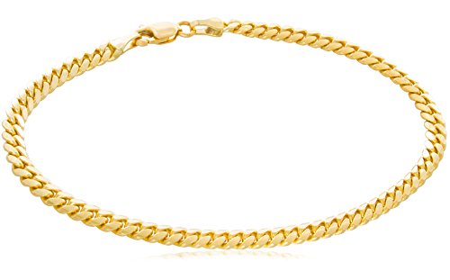 """Solid 14K Yellow Gold Miami Cuban 4mm Link Chain Bracelet   Mid-Weight Width Polished Finish   7 – 8½"""""""