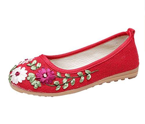 nacional hechos planos de inferior redonda Zapatos baja zapatos baile a Blanco hembra bordado Tamaño cuadrado Color tendón zapatos flores viento boca madre Rojo cabeza zapato mano femenino 35 0RwRdX