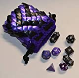 Dice Bag in Knitted Scale Armor - Purple ZigZag