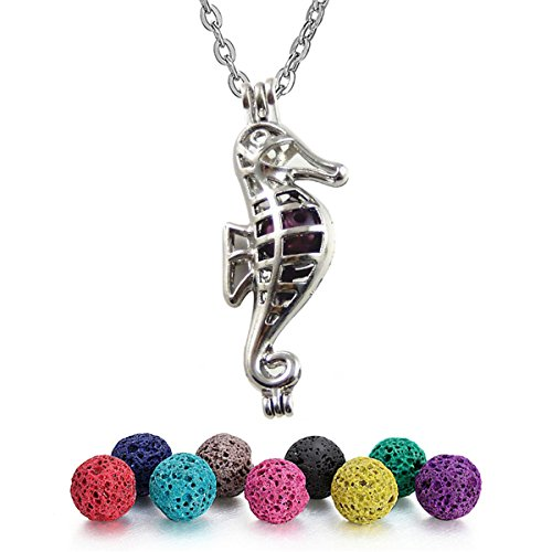 Seahorse Bead Pendant (Julie Wang Aromatherapy Essential Oil Diffuser Necklace Locket Pendant with Lava Beads - Sea horse)