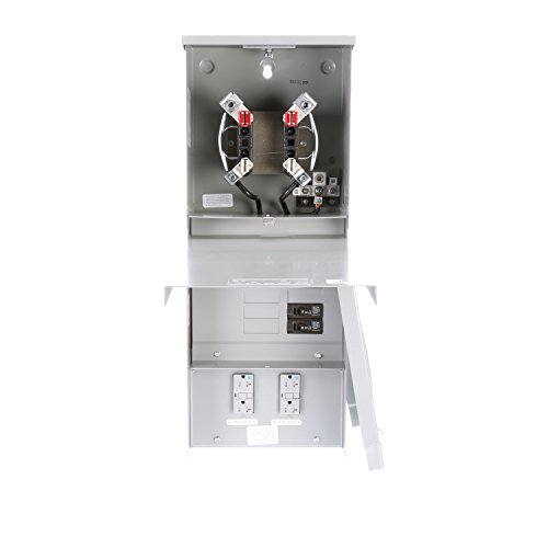 Siemens TL77RT Talon Temporary Power Outlet Panel with Two 20A Duplex Receptacles Installed Includes a Top Fed, Ringless Type, Meter Socket Provision ()