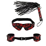 1 Set Kinky Kit of Sex Toys Fetish Red & Black Leopard Eye Mask/handcuffs/whip J1155-1#D1 (Free Shipping)