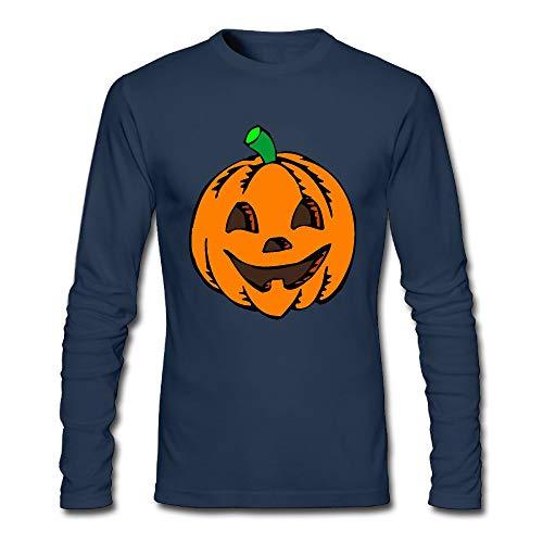 Men's Pumpkin Clipart Halloween Long-Sleeve Cotton T-Shirt