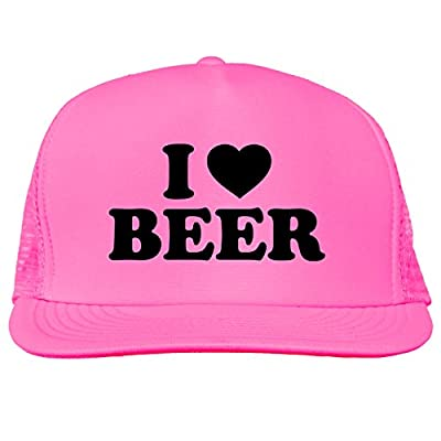 I Love Beer Bright neon truckers mesh snap back hat in 6 Bright Colors