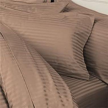 7PC ITALIAN 1200 Thread Count Egyptian Cotton Set - Includes Sheet Set & Duvet Set, California King, Taupe Stripe, Premium ITALIAN Finish