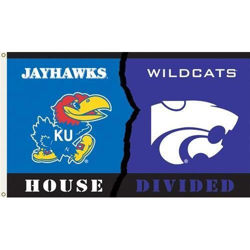 NCAA Kansas - Kansas State Rivarly House Divided Flag with Grommets 60 x 36in