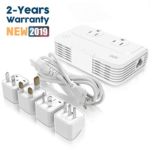 Voltage Converter Universal Travel Adapter, THZY 2019 Updated Step Down 220V to 110V Converter with 4-Port USB Charging Quick Charge 3.0, Worldwide Plug Adapter with UK/AU/US/EU/in/IT Plug