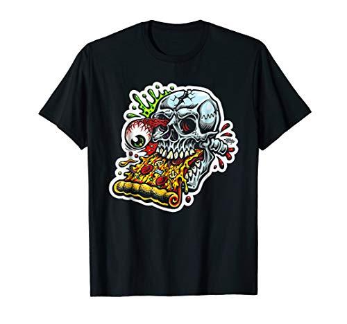 Zombie Head & Pizza Shirt Funny Halloween Gift