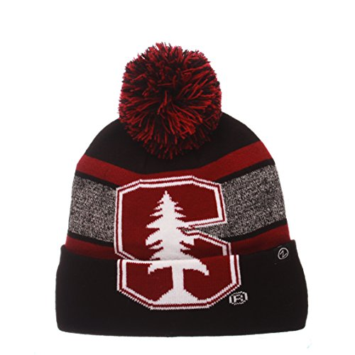 ZHATS NCAA Stanford Cardinal Mammoth Beanie, Adjustable, Black/Team Color
