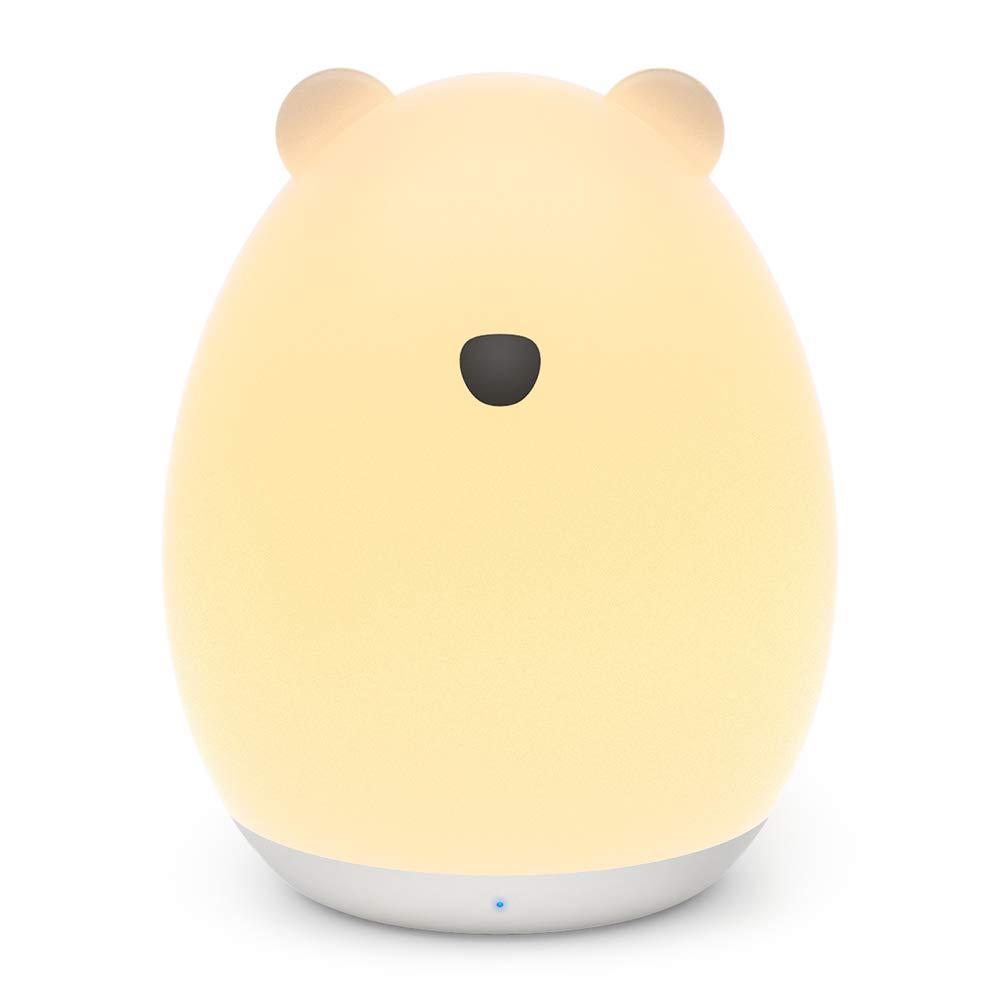 VAVA 可愛いくま型 ナイトライト ベッドサイドランプ 【タッチコントロール 授乳用 七色変換 USB充電 子供安全素材】 間接照明 テーブルランプ プレゼント VA-CL012 (ホワイト) product image