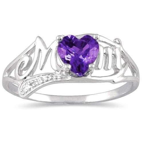 .50 Ct Alexandrite Heart & Diamond Mom Ring .925 Sterling Silver Rhodium Finish