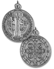 """Lot of 5! St Benedict Medal 3/4"""" Protection from Evil Sacramental Devotion Silver OX"""