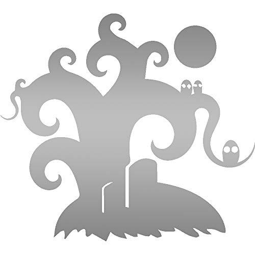 ANGDEST Halloween Tree (Metallic Silver) (Set of 2) Premium Waterproof Vinyl Decal Stickers for Laptop Phone Accessory Helmet Car Window Bumper Mug Tuber Cup Door Wall -