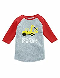 4th Birthday Tractor Construction Party 3/4 Sleeve Baseball Jersey Toddler Shirt