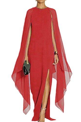 Mujeres Noche Vestido Gasa Cabo Red Prom con Formal Larga Fanvans Elagant De Las Vestidos 4qvawv