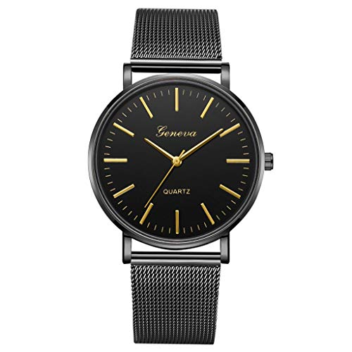 LUCAMORE Mens Quartz Watch,Luxury Temperament Minimalist Business Analog Wrist Watches Mesh Stainless Steel Strap