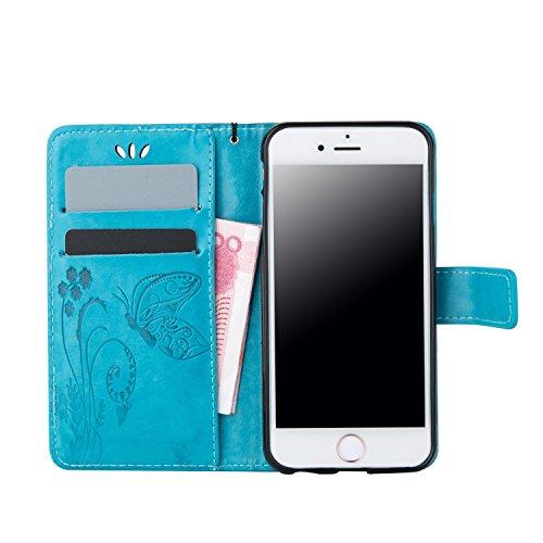 Voguecase® für Apple iPhone SE hülle, Kunstleder Tasche PU Schutzhülle Tasche Leder Brieftasche Hülle Case Cover (Schmetterlinge 2-Hellblau) + Gratis Universal Eingabestift