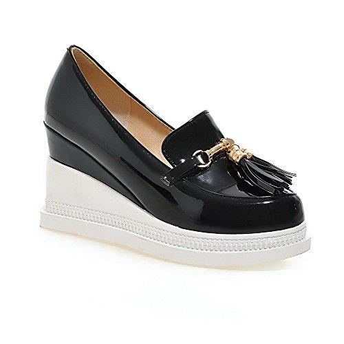 VogueZone009 Damen Ziehen auf Rund Zehe Hoher Absatz PU Leder Pumps Schuhe Schwarz
