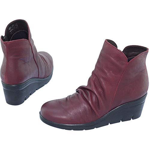 Bordeaux Talon Cuir Bien Bottines Compensées Chaussures Drapé Confort Marque Sensibles Stable Pieds Femme Saigon Aerobics wWxHcS6n