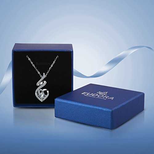 EUDORA Sterling Silver CZ Heart Pendant Necklaces Jewelry for Mother & Daughter,18'' Chain by EUDORA (Image #6)