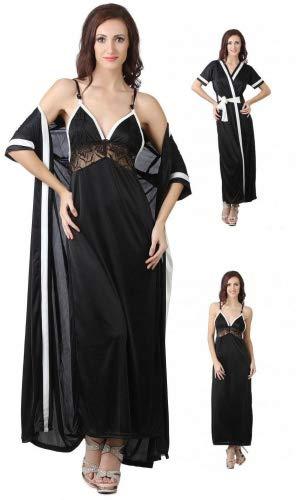 8b04f4680 The Orange Tags Ladies Satin Nightie Womens Designer Dressing Gown Robe  Nightwear Set 8-14 Black  Amazon.co.uk  Clothing