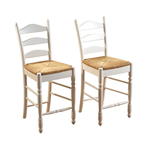 Target Marketing Systems 24-Inch Set of 2 Ladder Back Stools with Rush Seats and Turned Legs, Set of 2, White