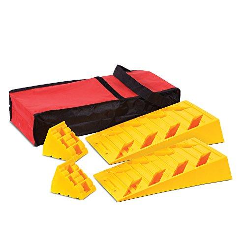 ive Dual Axle Leveling Ramps, Interlocking Wheel Chocks & Bag Kit for RV, Fifth Wheel or Camper ()