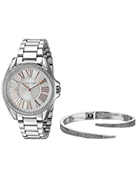 Michael Kors Women's Kacie Silver-Tone Watch and Bracelet Gift Set MK3567