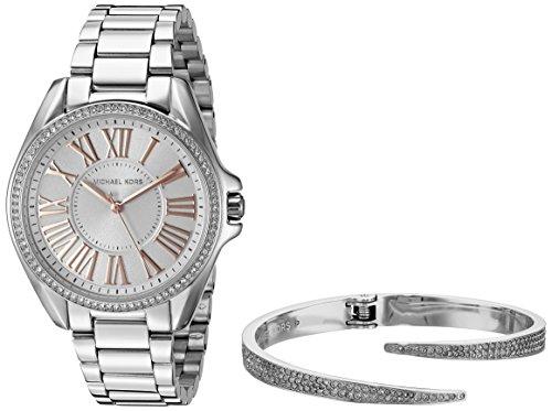 Michael Kors Women's Kacie Silver-Tone Watch and Bracelet Gift Set MK3567