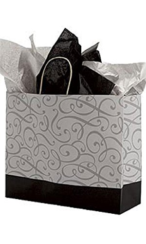 Large Black & Silver Swirl Paper Shopping Bags - Case of 100 by STORE001