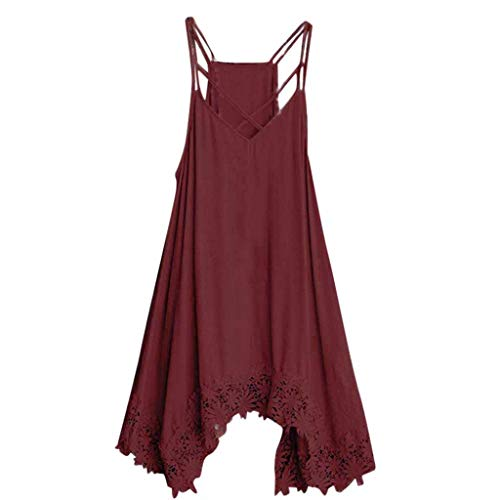 Alangbudu Women Summer V-Neck Criss Cross Spaghetti Straps Party Club Beach Mini Tank High Low Irregular Lace Hem Dresses Wine
