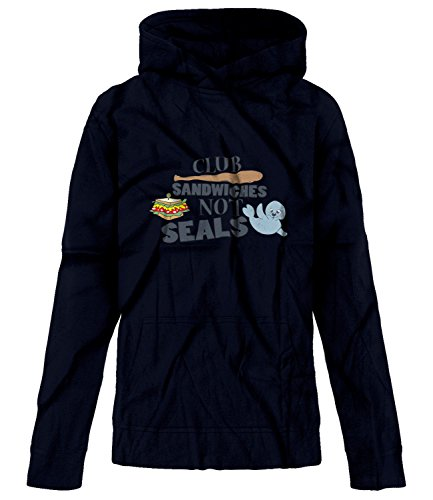 Seals Not Hoodie Club Sandwiches (BSW Youth Boys Club Sandwiches Not Seals Play On Words Theme Hoodie MED Navy)