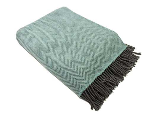 "Biddy Murphy Wool Throw Blanket Irish Merino Wool & Cashmere Teal Herringbone 54"" Wide by 71"" Long Super Soft & Warm Housewarming Made in Ireland"