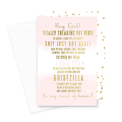 Abstract Bridezilla Will You Be My Bridesmaid Cards (6 Pack) I Can't Without You Maid of Honor (Blush and Gold) - Exclusive Gold Foil Card