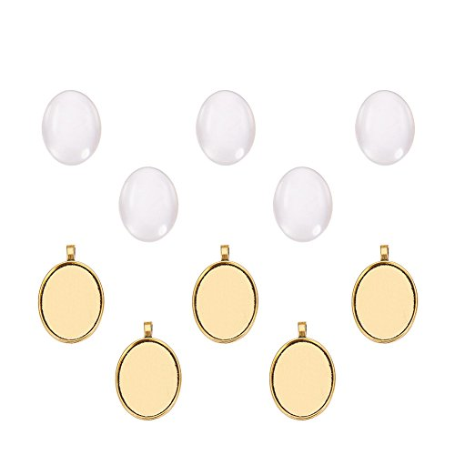 Pandahall 5 Sets 40x30mm Clear Oval Glass Cabochon Cover and 50x32.5mm Golden Alloy Blank Pendant Cabochon Settings for DIY Portrait Pendant Making